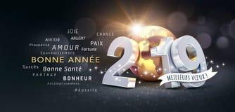 Franskt hälsa kort för lyckligt nytt år 2019 stock illustrationer