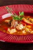 Franskt kokkonstbegrepp Klassisk fransk fisksoppa av skaldjur, räkor, musslor, tioarmad bläckfisk, potatisar, tomater fotografering för bildbyråer