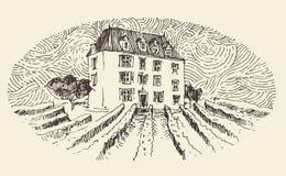 Franskt landskap, vinetikettmeny, inristad tappning stock illustrationer