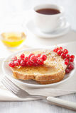 Franskt rostat bröd med redcurranthonung för frukost arkivbild