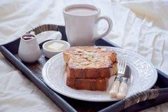 Franskt rostat bröd och en kopp av kakao Fotografering för Bildbyråer