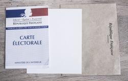 Franskt val- begrepp för för Closeup för kort, presidents- och lagstiftnings- val Arkivfoto