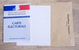 Franskt val- begrepp för för Closeup för kort, presidents- och lagstiftnings- val Royaltyfri Foto