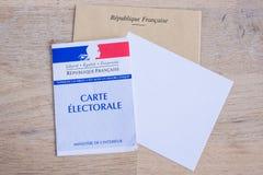 Franskt val- begrepp för för Closeup för kort, presidents- och lagstiftnings- val Royaltyfria Foton