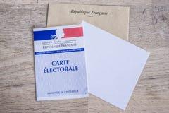 Franskt val- begrepp för för Closeup för kort, presidents- och lagstiftnings- val Royaltyfria Bilder