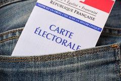Franskt val- kort i det bakre facket av jeans, presidentvalbegrepp Royaltyfria Bilder