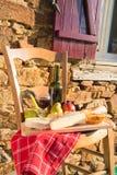 Franskt vin och ost royaltyfria bilder