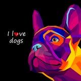 Fransman för bulldogg för älsklings- djur för hundvektoravel gullig vektor illustrationer