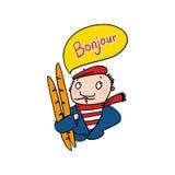 Fransman som säger den Bonjour illustrationen Arkivbilder