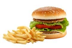 fransmannen steker hamburgaren Arkivfoto