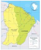 Französisch-Guayana politische Karte mit Straßen und Flüssen vektor abbildung