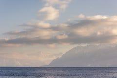 Französische Alpenansicht von Lausanne die Schweiz Stockbild