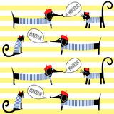 Französische Artkatzen und -hunde, die bonjour nahtloses Muster auf gestreiftem Hintergrund sagen Stockfotografie