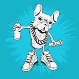 Französische Bulldoggen-Rap-Star mit Hip Hop-Wesensmerkmalen mögen eine Graffiti-Farben-Spray-Dose Lizenzfreies Stockfoto