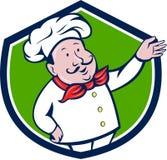 Französische Chef-Welcome Greeting Crest-Karikatur Lizenzfreies Stockbild