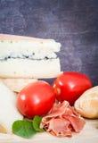 Französische, europäische Frühstücksauswahl Stockfoto