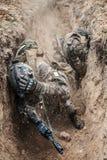 Französische Fallschirmjäger in der Aktion lizenzfreie stockfotografie