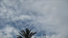 Französische Flagge gegen den bewölkten Himmel stock video footage