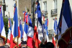 Französische Flaggen für den 14. Juli Stockfotos
