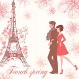 Französische Frühlingsvektorillustration mit Paaren Stockfoto