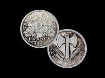 2 französische Franken 1943 Lizenzfreie Stockfotos
