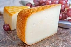 Französische gelbe Käse, Schafe Pur Brebis melk Käse fron Pyrenäen und Heiliges Paulin sahnig, milder, halbweicher französischer  lizenzfreie stockfotos