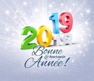 Französische Gruß-Karte des guten Rutsch ins Neue Jahr-2019 lizenzfreie abbildung