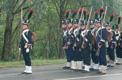 Französische Infanterie auf dem Marsch Stockfoto