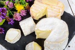 Französische Käse auf einem schwarzen Schiefer Lizenzfreie Stockbilder