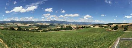 Französische ländliche Landschaft im Berggebiet Lizenzfreies Stockbild