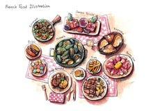 Französische Lebensmittelillustration Lizenzfreie Stockfotografie