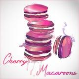 5 französische macarons am rosa Farbenspritzenhintergrund Aquarellillustration des hellen Gebäcks lizenzfreie abbildung