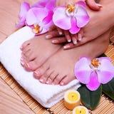 Französische Maniküre auf schönen weiblichen Füßen und Händen Lizenzfreies Stockfoto