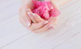Französische Maniküre Ombre mit Blumen lizenzfreies stockbild