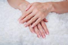 Französische Nagelkunst Stockfotografie
