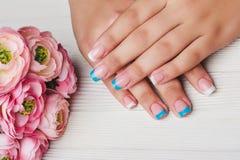 Französische Nagelkunst in der hellblauen und weißen Farbe Stockfotografie