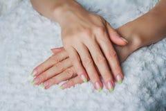 Französische Nagelkunst in der hellgrünen Farbe Stockbild