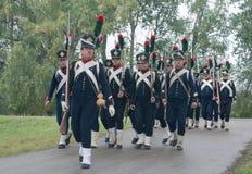 Französische napoleonische Infanterie auf dem Marsch Lizenzfreies Stockfoto