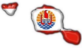 französische Polinesien-Markierungsfahnenkartenform von Tahiti Stockbild