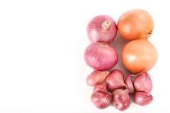 Französische rote Schalotten und Zwiebeln auf weißem Hintergrund - Draufsicht Lizenzfreies Stockfoto