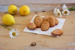 Französische süße selbst gemachte Gebäck madeleines mit Zitroneneifer Stockfotos