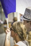 Französische Teamanhänger waching nah ein Match stockfoto