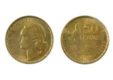 Französische Währung des 20. Jahrhundert 50 Franken 1953 Lizenzfreie Stockfotos