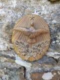 Französische Weinlese-Malergold-Friedensplakette stockfoto
