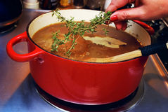 Französische Zwiebel-Suppe und Thymian Lizenzfreie Stockbilder