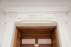 Französischer d'appel Gerechtigkeit admnistration Parkettde la Cour Leitartikel Lizenzfreies Stockfoto