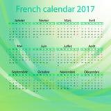 Französischer Kalender 2017 auf grünem Hintergrund Stock Abbildung