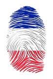 Französischer Markierungsfahnen-Fingerabdruck Lizenzfreies Stockbild