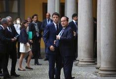 Französischer Präsident Francois Hollande und Premierminister von Italien, Stockbild