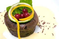 Französischer Schokoladenfondantpudding Stockfotografie